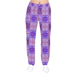 Mod Purple Pink Orange Squares Pattern Velvet Drawstring Pants