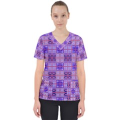 Mod Purple Pink Orange Squares Pattern Women s V Neck Scrub Top
