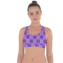 Mod Purple Pink Orange Squares Pattern Cross String Back Sports Bra