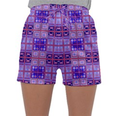 Mod Purple Pink Orange Squares Pattern Sleepwear Shorts