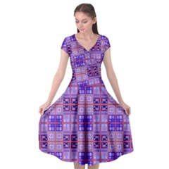 Mod Purple Pink Orange Squares Pattern Cap Sleeve Wrap Front Dress
