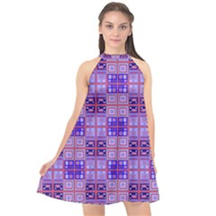 Mod Purple Pink Orange Squares Pattern Halter Neckline Chiffon Dress