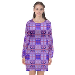 Mod Purple Pink Orange Squares Pattern Long Sleeve Chiffon Shift Dress