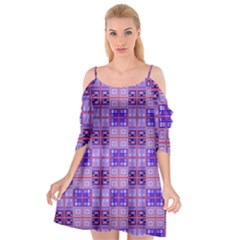 Mod Purple Pink Orange Squares Pattern Cutout Spaghetti Strap Chiffon Dress