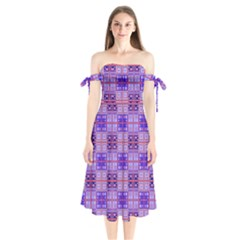 Mod Purple Pink Orange Squares Pattern Shoulder Tie Bardot Midi Dress