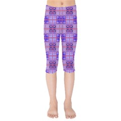Mod Purple Pink Orange Squares Pattern Kids  Capri Leggings