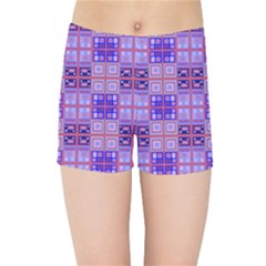 Mod Purple Pink Orange Squares Pattern Kids Sports Shorts