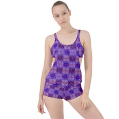 Mod Purple Pink Orange Squares Pattern Boyleg Tankini Set