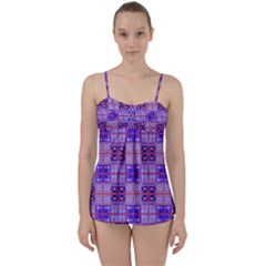 Mod Purple Pink Orange Squares Pattern Babydoll Tankini Set