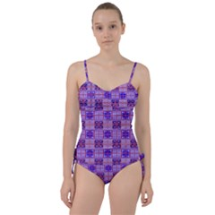 Mod Purple Pink Orange Squares Pattern Sweetheart Tankini Set