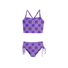 Mod Purple Pink Orange Squares Pattern Girls  Tankini Swimsuit