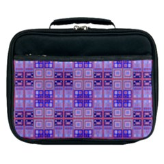 Mod Purple Pink Orange Squares Pattern Lunch Bag