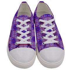 Mod Purple Pink Orange Squares Pattern Women s Low Top Canvas Sneakers