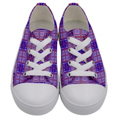 Mod Purple Pink Orange Squares Pattern Kids  Low Top Canvas Sneakers