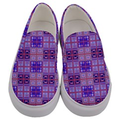 Mod Purple Pink Orange Squares Pattern Men s Canvas Slip Ons