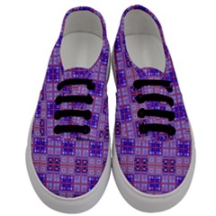 Mod Purple Pink Orange Squares Pattern Men s Classic Low Top Sneakers