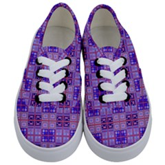 Mod Purple Pink Orange Squares Pattern Kids  Classic Low Top Sneakers