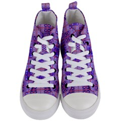 Mod Purple Pink Orange Squares Pattern Women s Mid Top Canvas Sneakers