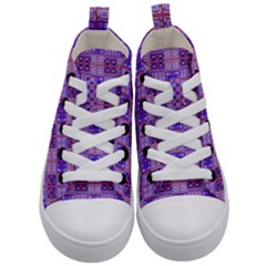 Mod Purple Pink Orange Squares Pattern Kid s Mid Top Canvas Sneakers