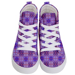 Mod Purple Pink Orange Squares Pattern Kid s Hi Top Skate Sneakers