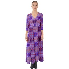 Mod Purple Pink Orange Squares Pattern Button Up Boho Maxi Dress