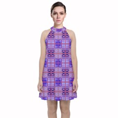 Mod Purple Pink Orange Squares Pattern Velvet Halter Neckline Dress