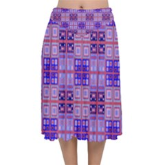 Mod Purple Pink Orange Squares Pattern Velvet Flared Midi Skirt