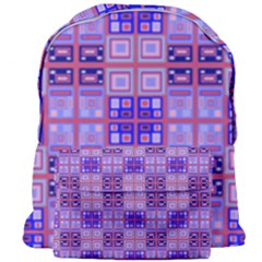Mod Purple Pink Orange Squares Pattern Giant Full Print Backpack