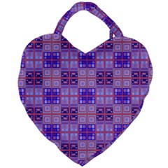 Mod Purple Pink Orange Squares Pattern Giant Heart Shaped Tote