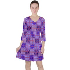 Mod Purple Pink Orange Squares Pattern Ruffle Dress