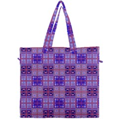 Mod Purple Pink Orange Squares Pattern Canvas Travel Bag