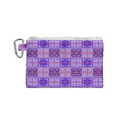 Mod Purple Pink Orange Squares Pattern Canvas Cosmetic Bag (small)