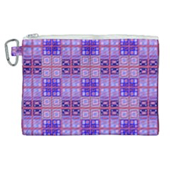 Mod Purple Pink Orange Squares Pattern Canvas Cosmetic Bag (xl)