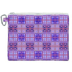 Mod Purple Pink Orange Squares Pattern Canvas Cosmetic Bag (xxl)