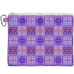 Mod Purple Pink Orange Squares Pattern Canvas Cosmetic Bag (xxxl)