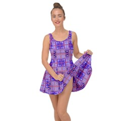 Mod Purple Pink Orange Squares Pattern Inside Out Casual Dress