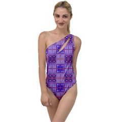 Mod Purple Pink Orange Squares Pattern To One Side Swimsuit