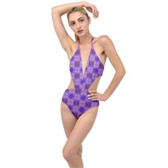 Mod Purple Pink Orange Squares Pattern Plunging Cut Out Swimsuit