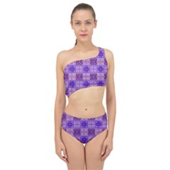 Mod Purple Pink Orange Squares Pattern Spliced Up Two Piece Swimsuit