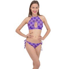 Mod Purple Pink Orange Squares Pattern Cross Front Halter Bikini Set