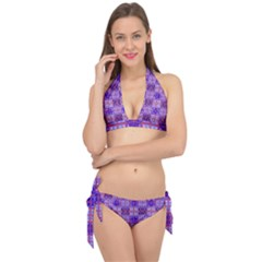 Mod Purple Pink Orange Squares Pattern Tie It Up Bikini Set