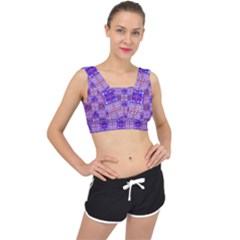 Mod Purple Pink Orange Squares Pattern V Back Sports Bra