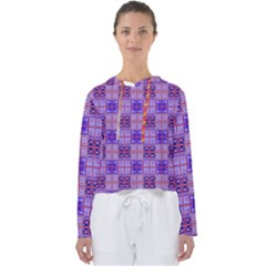 Mod Purple Pink Orange Squares Pattern Women s Slouchy Sweat