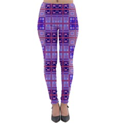 Mod Purple Pink Orange Squares Pattern Lightweight Velour Leggings