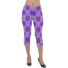 Mod Purple Pink Orange Squares Pattern Lightweight Velour Capri Leggings