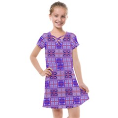Mod Purple Pink Orange Squares Pattern Kids  Cross Web Dress