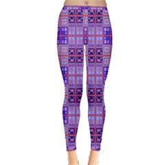 Mod Purple Pink Orange Squares Pattern Inside Out Leggings
