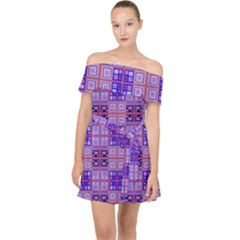Mod Purple Pink Orange Squares Pattern Off Shoulder Chiffon Dress