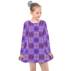 Mod Purple Pink Orange Squares Pattern Kids  Long Sleeve Dress