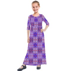 Mod Purple Pink Orange Squares Pattern Kids  Quarter Sleeve Maxi Dress